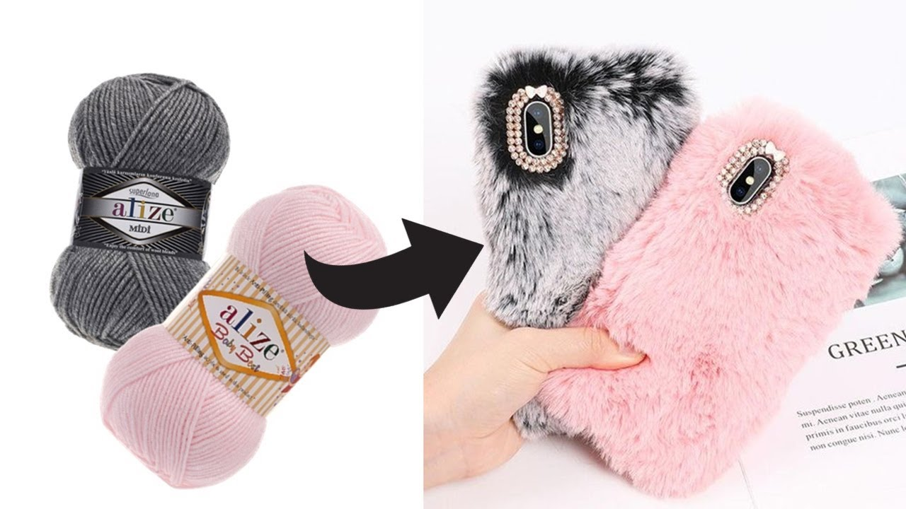 DIY - HOW TO MAKE PLUSH PHONE CASE with WOOL at HOME - EASY, QUICK and CHEAP