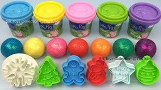 Play and Learn Colors Glitter Play Doh Balls with Christmas Themed Molds Fun & Creative for Children