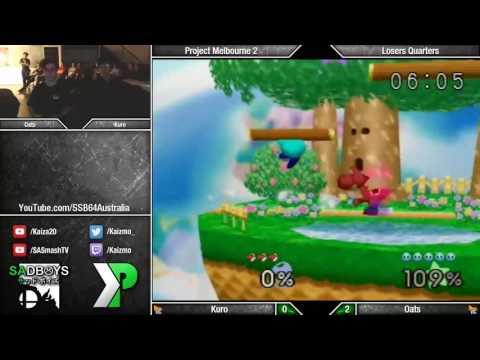 Project Melbourne 2 - SSB64 - Kuro (Yoshi/Fox) vs Oats (Kirby) - Losers Quarters