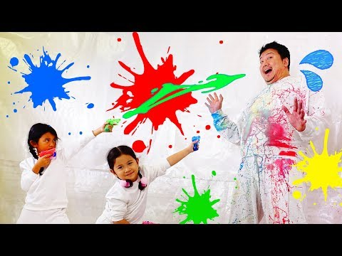 キッズの芸術が爆発だ!スーパースローモーションアートに挑戦☆パパを芸術作品に仕上げる!!himawari-CH