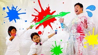 キッズの芸術が爆発だ!スーパースローモーションアートに挑戦☆パパを芸術作品に仕上げる!!himawari-CH thumbnail
