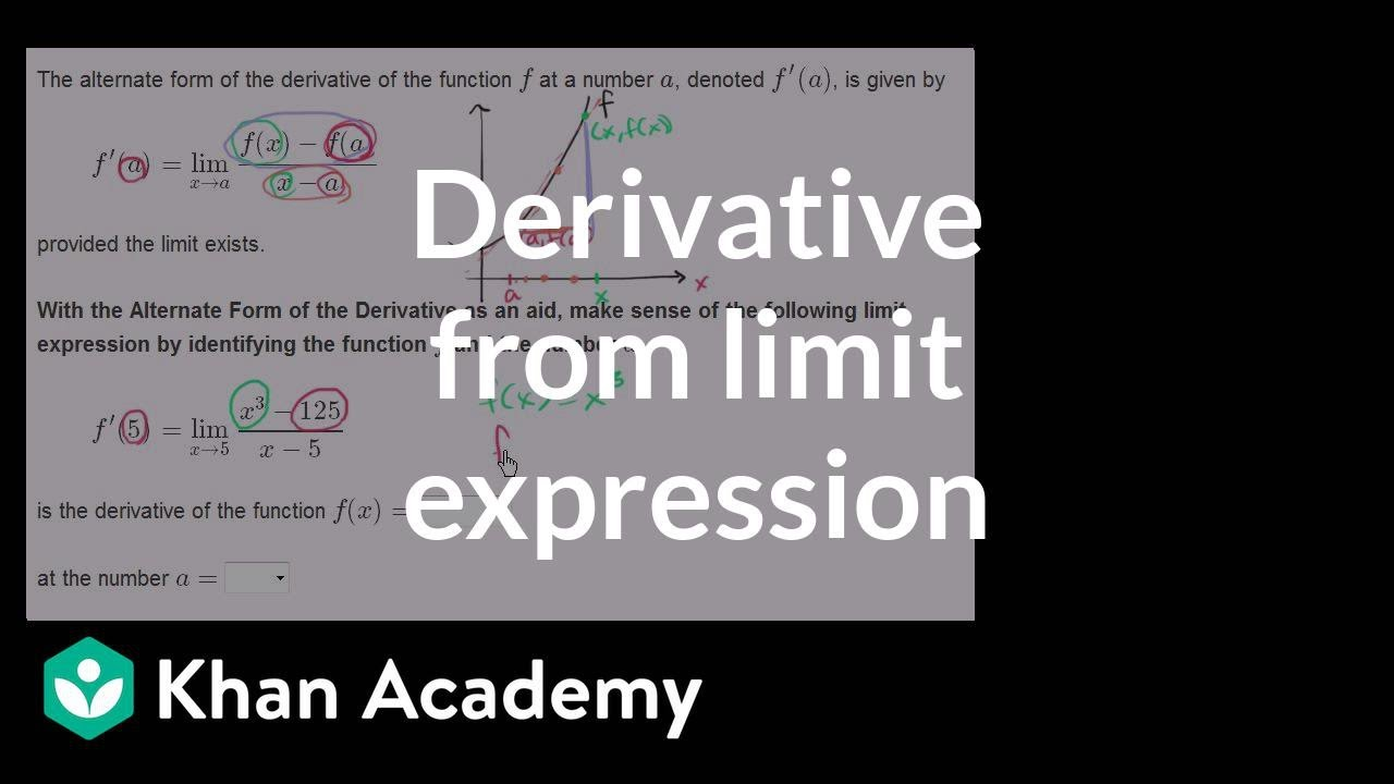 Formal And Alternate Form Of The Derivative Example 1 Differential Calculus Khan Academy