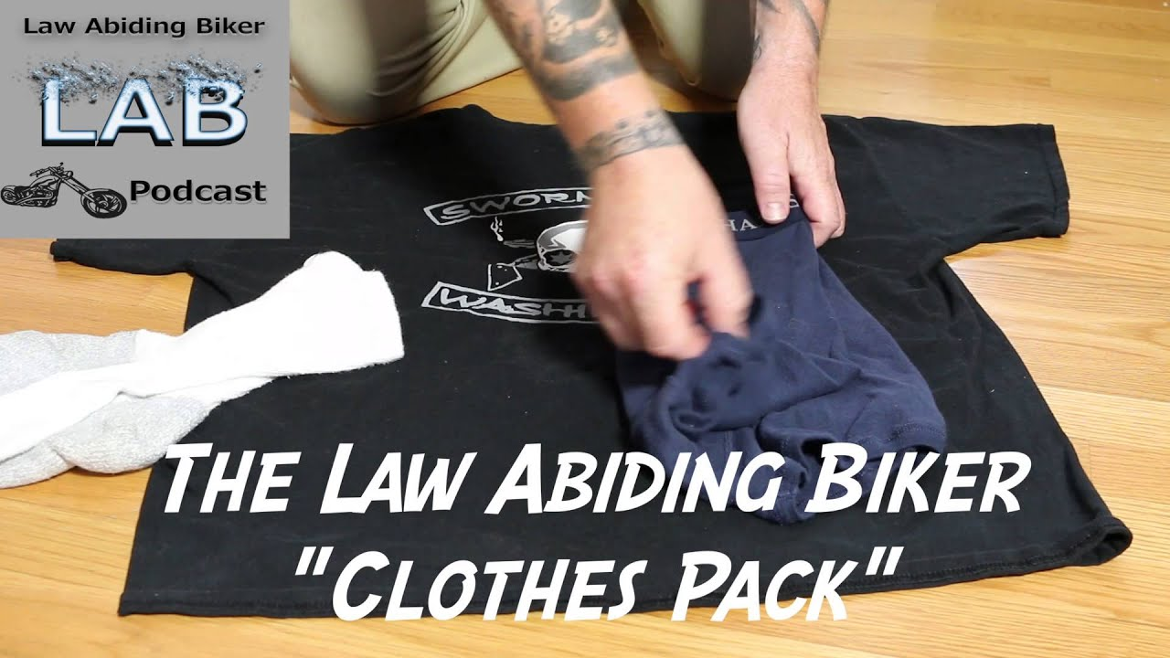 Best way to fold clothes for a trip - How To Fold Roll Your Clothes Compactly For A Motorcycle Trip Biker Clothes Pack Biker Podcast Youtube