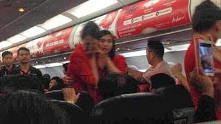 Pictured Moment flight attendant was SCALDED with hot water by unruly passenger