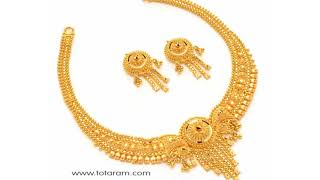 22K 22K Plain Gold (No stones) Short Necklace Sets by Totaram Jewelers