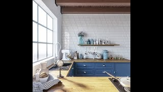 3d Max Blue Kitchen Tutorial (Best Corona Render)