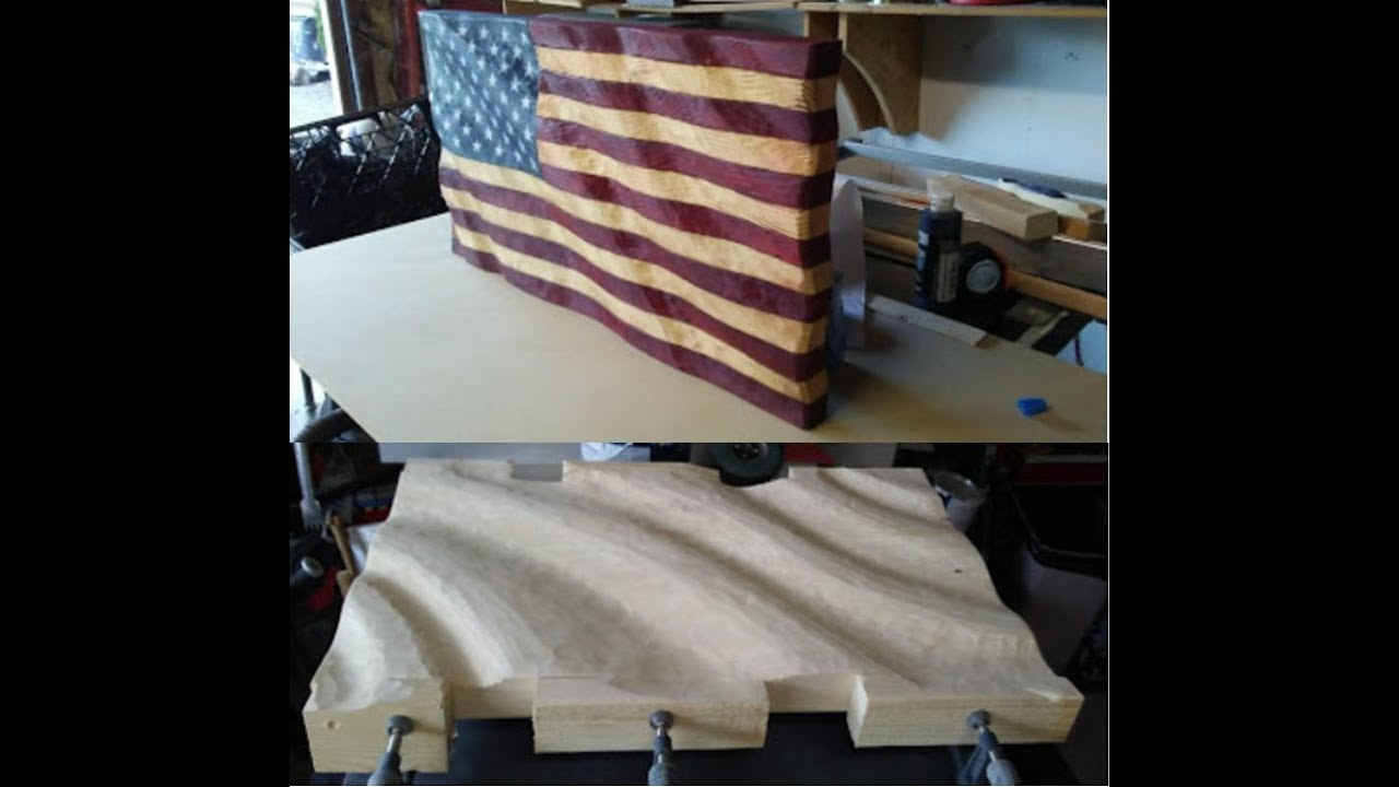 Making And Caving A Wavy Wooden American Flag