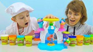 Play Doh Мороженое и Даник с мамой - Весёлое видео для детей с игрушками Плей До Кухня