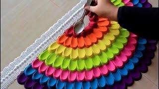 Simple navratri rangoli design using spoon l Diwali rangoli designs with colours l नवरात्री रांगोळी