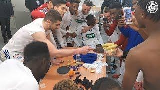La joie du vestiaire après #GF38RCSA en Coupe de France (0-1)