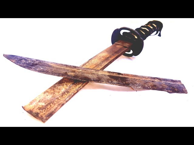 Restoration a broken sword - Restoration old rusty sword - Restore Japanese sword