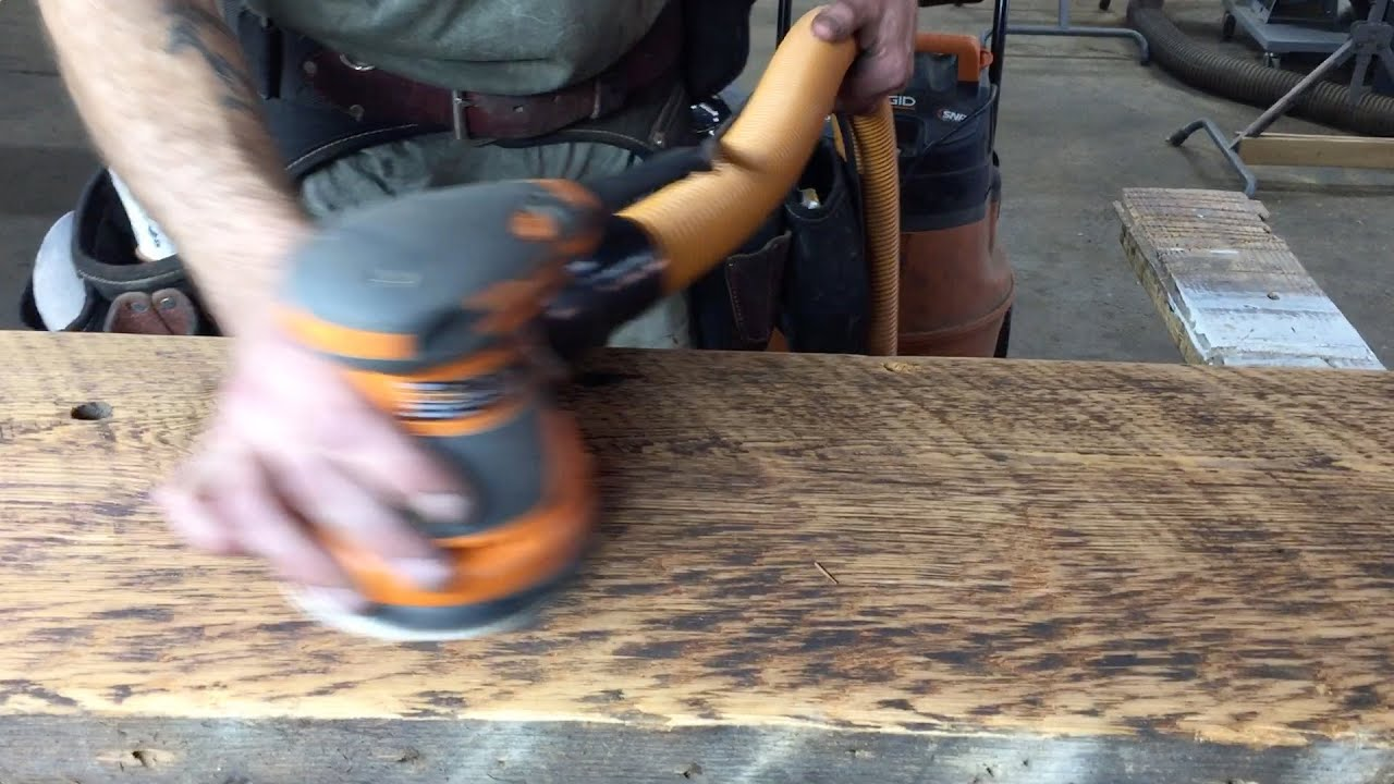590cd4b9515c How to sand and prep reclaimed wood - YouTube
