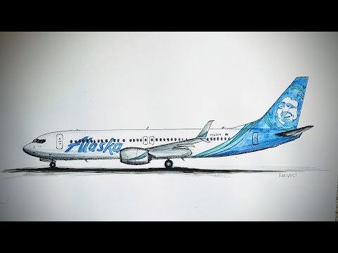 SPEED DRAWING,Alaska Airlines, Boeing 737-800