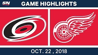 NHL Highlights | Hurricanes vs. Red Wings - Oct. 22, 2018