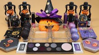 "Mixing""Black VS Purple"" Eyeshadow and Makeup,parts,glitter Into Slime!Satisfying Slime Video!★ASMR★"