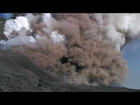 Pyroclastic flows and lava flows at Etna volcano