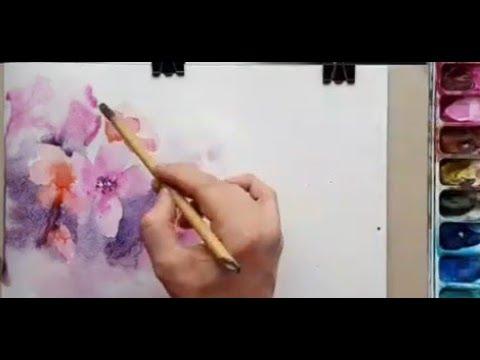Видеоуроки акварель цветы
