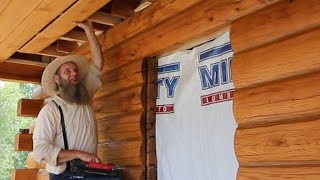 Porch Ceiling is DONE! Log Home build for Mom day 71