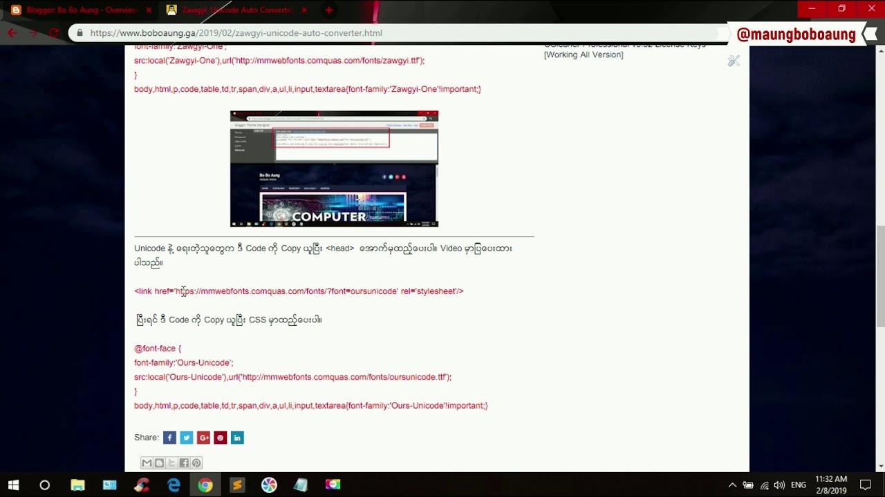 Zawgyi, Unicode Auto Converter For Blogger [For Burmese]