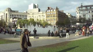 Street scene scene showing  Piccadilly Gardens Piccadilly, Manchester, UK  14th October 2011