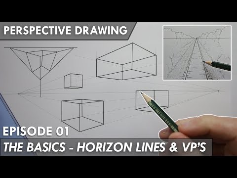 PERSPECTIVE DRAWING 01 - THE BASICS - Horizon Line, Vanishing Points 1,2 & 3