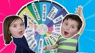 Mystery Wheel of Slime Challenge!!! Sis Vs. Bro