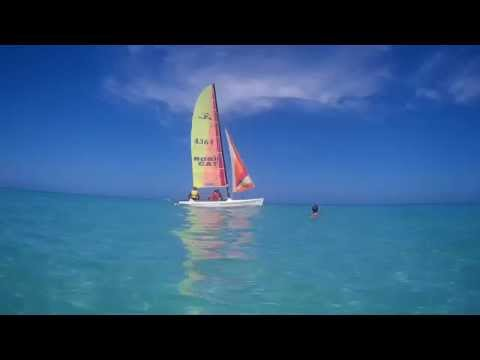 A sailboat in the Caribbean sea in Cuba