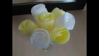 Как сделать цветы из салфеток, Розы из салфеток /How to make rose flowers from napkins