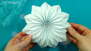 Unique Origami Flower. Big Paper Flower For Wall Decoration. Valentine Gifts Ideas And Paper Crafts.