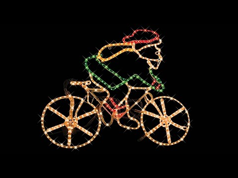 lighting display santa riding bicycle the christmas warehouse youtube