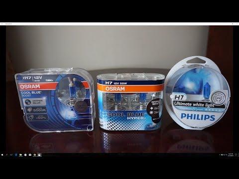 OSRAM Cool Blue BOOST vs Cool Blue Hyper+ vs Philips DiamondVision 5000k Halogens