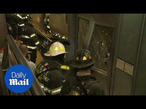 Dozens injured after NYC commuter train derails - Daily Mail