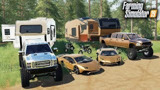 FS19- MILLIONAIRES GO LUXURY CAMPING! WITH A LAMBORGHINI & $90,000 RAM MEGA CAB, FORD SUPER SIX