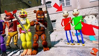 BALDI'S BROTHER! & BALDI HUNT THE ANIMATRONICS! (GTA 5 Mods FNAF RedHatter)