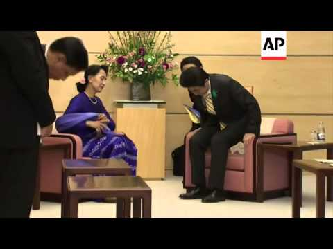 Myanmar's opposition leader Suu Kyi meets Japanese Prime Minister Abe
