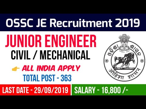 OSSC JE Recruitment 2019   OSSC Junior Engineer Civil/Mechanical Vacancy 2019   Odisha SSC Jobs