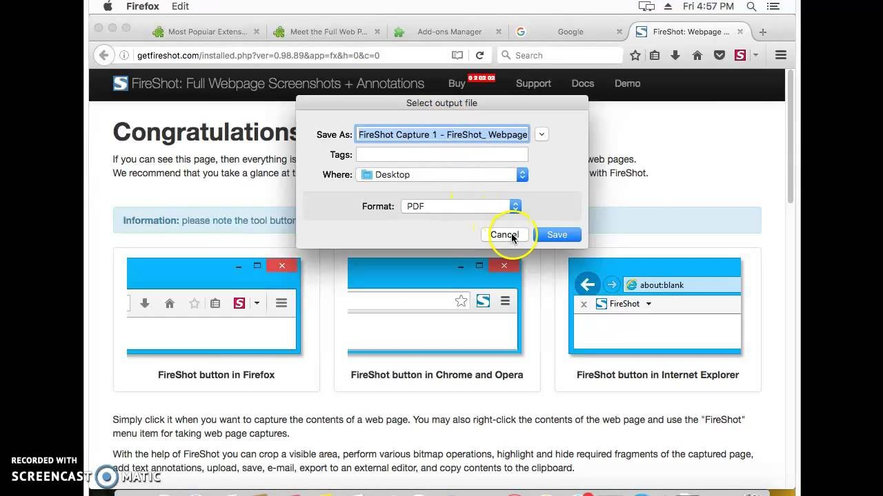 How To Make Full Web Page Screenshots Firefox  Mac Os X