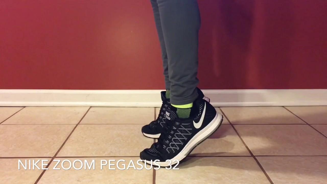 1c56d7cbf88df ON FEET  Nike Air Zoom Pegasus 32 - Black Pure Platinum White - YouTube
