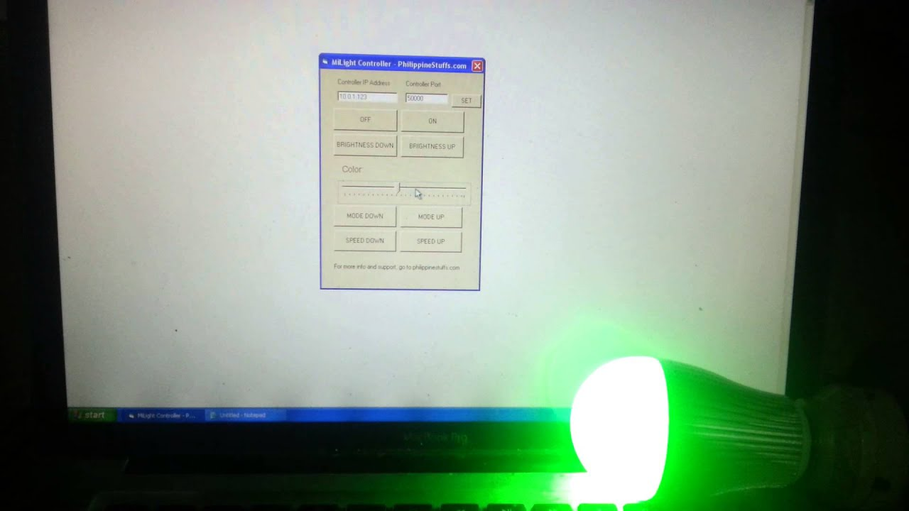 Control MiLight WiFi bulbs from Windows