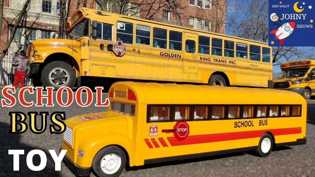 Johny Unboxes Motorized School Bus Toy & Finds Real School Bus Outside