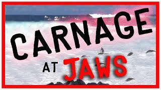 BIG WAVE CARNAGE at JAWS - POUNDED on da rocks and huge tube rides w Kai Lenny, Ian Walsh, & friends