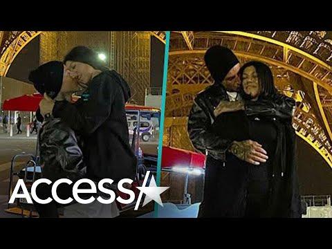 Travis Barker Kisses Kourtney Kardashian Under Eiffel Tower