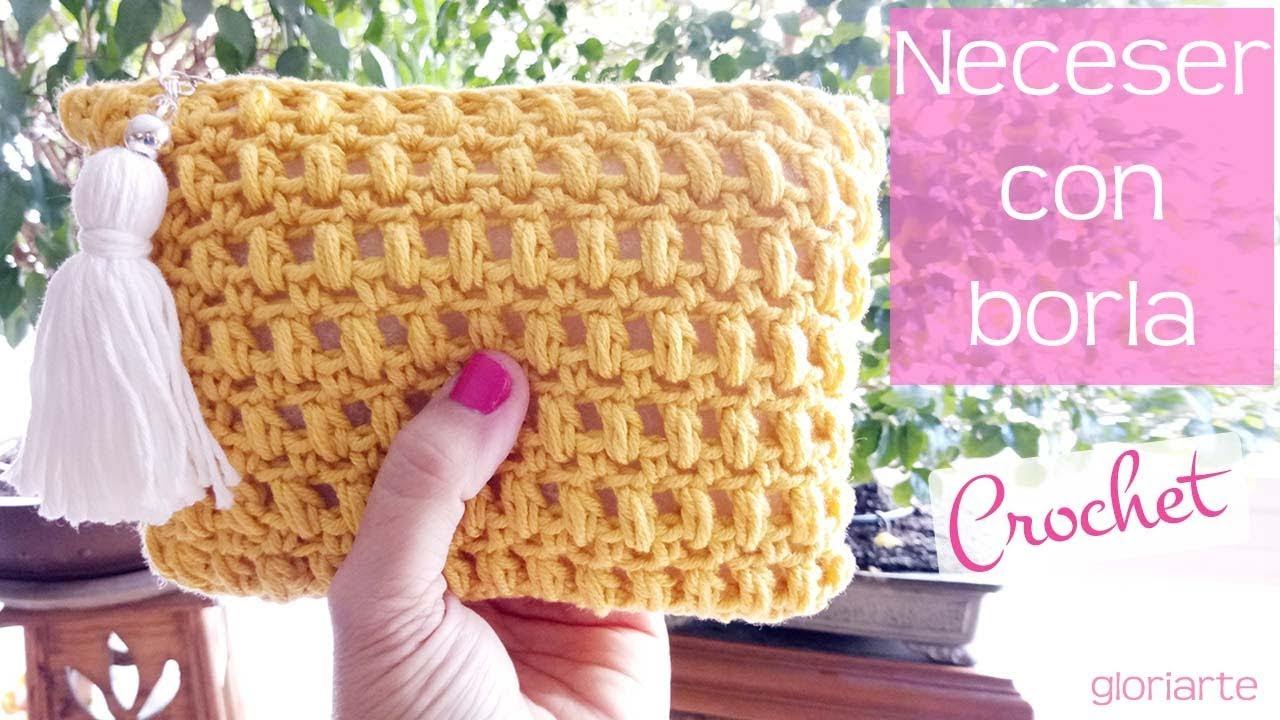 bc530263c Neceser de ganchillo en punto piña con cremallera. Crochet bag in pineapple  with zipper.