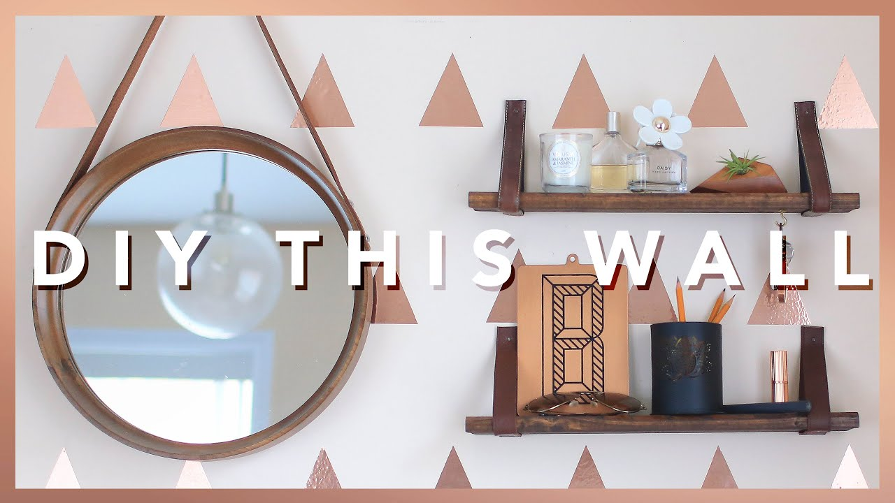 Easy diy accent wall leather strap shelves the sorry girls easy diy accent wall leather strap shelves the sorry girls youtube amipublicfo Images