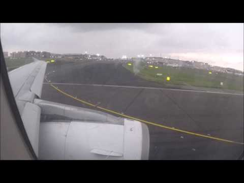 South African Airbus A320-200 takeoff at O.R. Tambo International Airport in Jo`burg