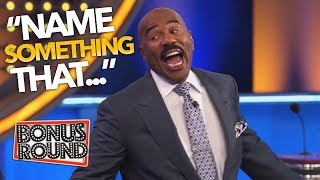 STEVE HARVEY ASKS... 'Name SOMETHING That...' Funny Answers On Family Feud USA | Bonus Round