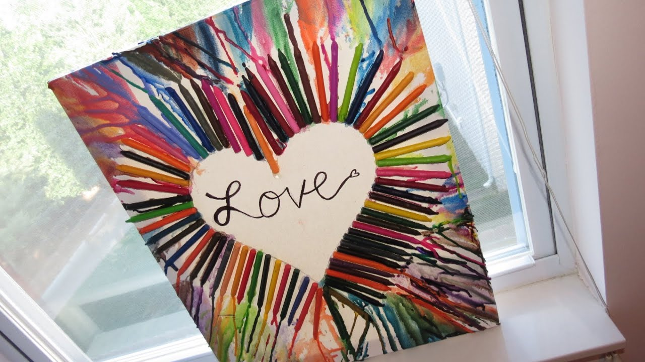 Diy crayon melted painting on canvas rainbow heart for How to make canvas painting