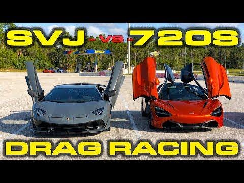 217 MPH! * Lamborghini Aventador SVJ vs McLaren 720S Drag Racing 1/4 Mile