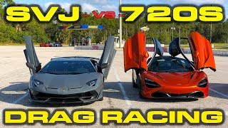 217 MPH  Lamborghini Aventador SVJ vs McLaren 720S Drag Racing 14 Mile