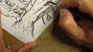 Marzan Jr. comic book inking - brush rendering